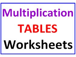 Multiplication Tables Worksheets (15 Pages)