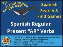 Games for Spanish Present Tense Verbs AR endings * Juego de Verbos del presente regular en español