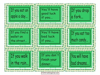 Conditional Sentences Type 0 & 1 Cards  4 Pages = 36 Cards