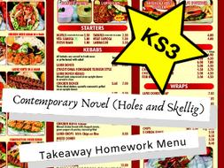 Contemporary Novel KS3 Takeaway Homework Menu