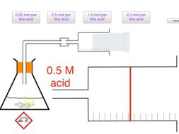 Rate of reaction with a gas syringe simulation.