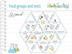 Food groups and tests - Tarsia (KS3/4)