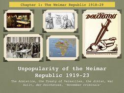 GCSE History The Weimar Republic. Unit 1. Unpopularity of the Weimar Republic 1919-23