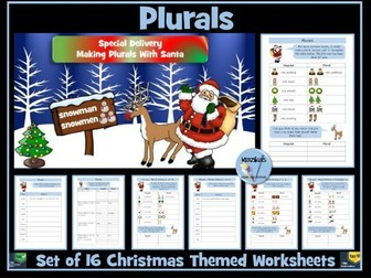 Plurals  - Set of 16 Christmas Themed  Worksheets and Revision Sheet