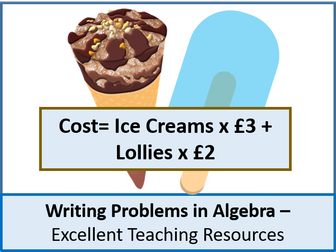 Algebra: Writing Problems using or in Algebra (expressions, equations and formula) + resources