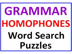 Grammar Word Search Puzzle PLUS Homophones Word Search Puzzle (2 Puzzles)