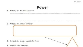 GCSE Physics Worksheet: Power, definition, formula, Q&A