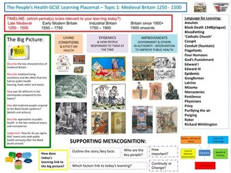 9-1 OCR History B, History Learning/Topic Placemats for The People's  Health:  Medieval