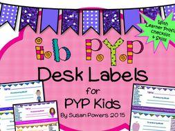 IB PYP Kids' Desk Labels