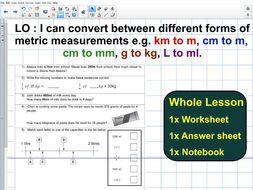 whole lesson metric measurements conversion kg g ml l m cm mm sats questions ks2 year 5. Black Bedroom Furniture Sets. Home Design Ideas