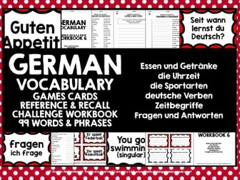 GERMAN VOCABULARY CARDS WITH REFERENCE & RECALL WORKBOOK #6