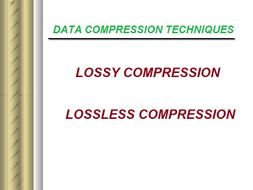 Data Compression Techniques - Lossy & Lossless compression worksheet
