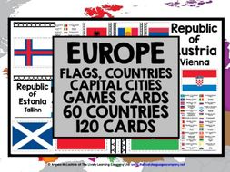 GEOGRAPHY EUROPE FLAGS COUNTRIES CAPITAL CITIES CARDS