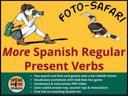 Spanish Verb Game *MORE Regular Present Tense Verbs * Verbos Regulares en Español con Vocabulario