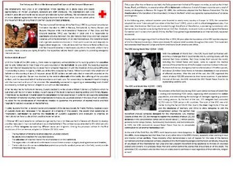 The History of the interational Red Cross  - Reading Comprehension / Text
