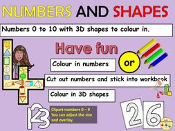 Numbers 0 to 10 and 3D Shapes Link Worksheets Clipart Numbers 0 to 9
