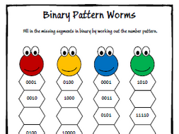 Binary Number Pattern Worksheet - KS3 / GCSE by moggga - Teaching ...