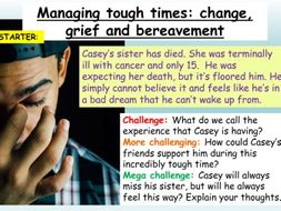 Bereavement + Grief PSHE 2020