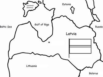 LATVIA - Printable handout with map and flag
