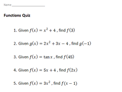 GCSE 9-1 Functions Quiz/Answers