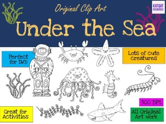 Under the Sea Clip Art - Black line drawings