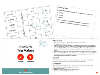 Trig Values (Snap Cards)