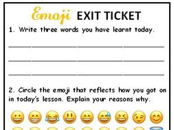 Emoji Exit Ticket Self Assessment Of Lesson By Albichuelita