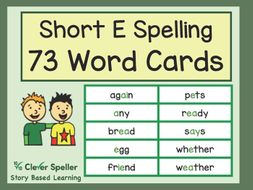 Flash Cards for the Short E Sound in Words