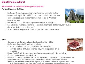 AQA El Patrimonio Cultural NOTES for NEW SPANISH A LVEL