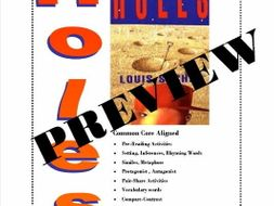 """""""Holes"""" by Louis Sachar 61 Common Core Aligned Worksheets"""