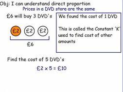 Direct proportion lesson GCSE including graphs