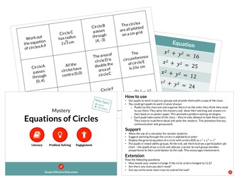 Equations of Circles (Mystery)