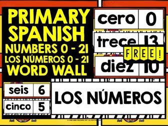 PRIMARY SPANISH NUMBERS 0-21 WORD WALL FREEBIE