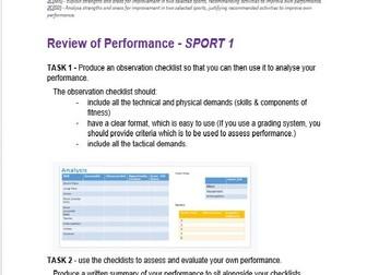 BTEC SPORT UNIT 2 Assignment 3 Template (Practical Sport) Analysis