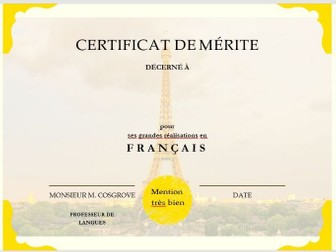 FRENCH AND SPANISH REWARD CERTIFICATES