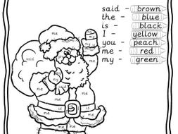 Reception/Year 1 Tricky words colouring worksheet