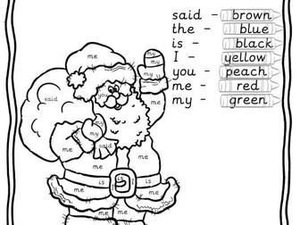 Reception/Year 1 Tricky words colouring worksheet christmas santa