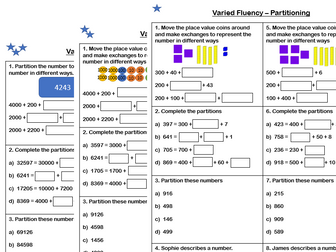 White Rose Maths - Year 4 - Place Value - Partitioning (Varied Fluency)