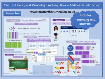 Year 3 - Editable Addition and Subtraction Teaching Slides - White Rose Style