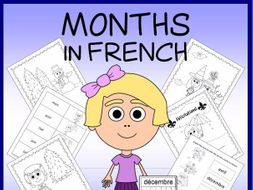 French Months Vocabulary Sheets, Printables, and Matching Game
