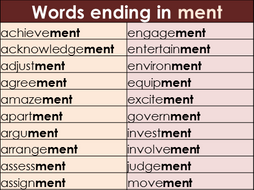 Suffix ment Word Mat - Year 2 Spelling