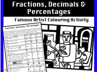 Fractions, Decimals & Percentages - Colour by Number Activity