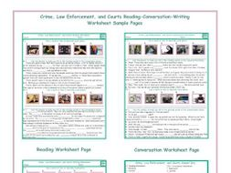 Crime-Law Enforcement-Courts Reading-Conversation-Writing Worksheets
