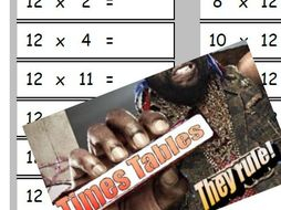 Mr. T themed Times tables weekly assessment for 7x, 8x, 9x and 12