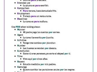 Para y Por study guide