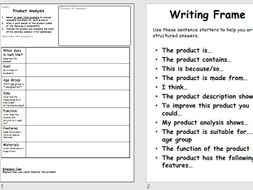 generic product analysis proforma worksheet task 1 hour lesson