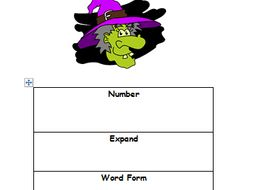Halloween themed partitioning Place Value differentiated