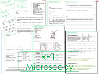 RP1 Microscopes/Cells Tasks and Worksheets