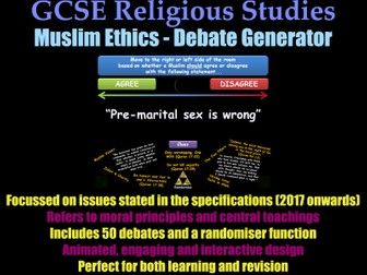 GCSE Islam - Ethical Debate Generator [Muslim Morality, Revision, RE, RS, Exam Practice]