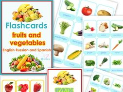 Flashcards FRUITS and VEGETABLES in English Russian and Spanish